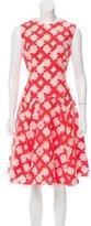 Lela Rose Appliqué-Accented A-Line Dress