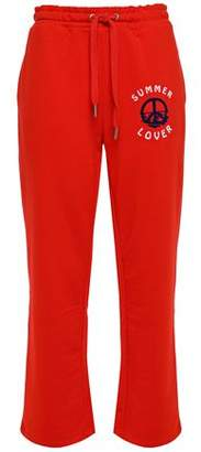 Zoe Karssen Flocked French Cotton-blend Terry Track Pants