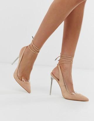 Public Desire Clarity blush clear heel ankle tie court shoes
