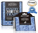 Dr. μ Pantry Moth Traps | Premium Quality Pheromone Attractant | Safe and Non-Toxic with No Insecticides (6, Blue Traps)