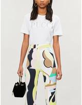 Emilio Pucci Glitter studded logo-print cotton-jersey T-shirt