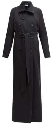 Ann Demeulemeester Longline Wool Blend Twill Trench Coat - Womens - Black