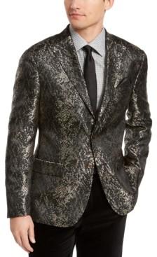 Tallia Men's Slim-Fit Gold/Black Snakeskin Jacquard Dinner Jacket