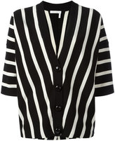 Chloé striped short-sleeve cardigan - women - Cotton - L