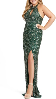 Mac Duggal Sequin Mesh Evening Dress