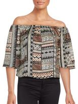 MinkPink Abstract Print Off-The-Shoulder Top