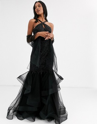 Jovani halterneck dress with ruffle skirt-Black