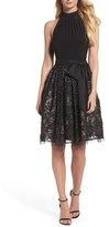Vince Camuto Women's High Neck Jersey & Lace Party Dress