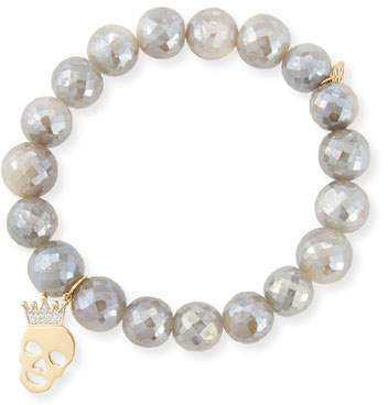 Sydney Evan 10mm Mystic Gray Moonstone Bracelet with Diamond Skull Charm