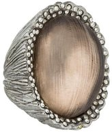 Alexis Bittar Carved Lucite & Crystal Cocktail Ring