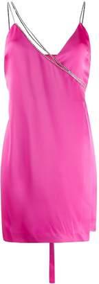 David Koma rhinestone strap wrap dress