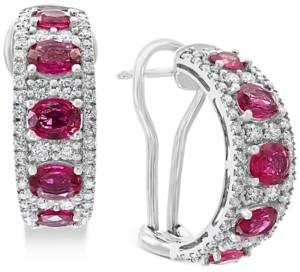 Effy Certified Ruby (3-1/2 ct. t.w.) & Diamond (1-1/4 ct. t.w.) Hoop Earrings in 14k White Gold