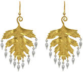 Cathy Waterman Large Leaf Earrings with Diamond Dewdrops - 22 Karat Gold | Platinum