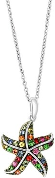 """Effy Multi-Gemstone Starfish 18"""" Pendant Necklace (5/8 ct. t.w.) in Sterling Silver"""