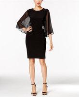 MSK Illusion Angel-Sleeve Embellished Dress