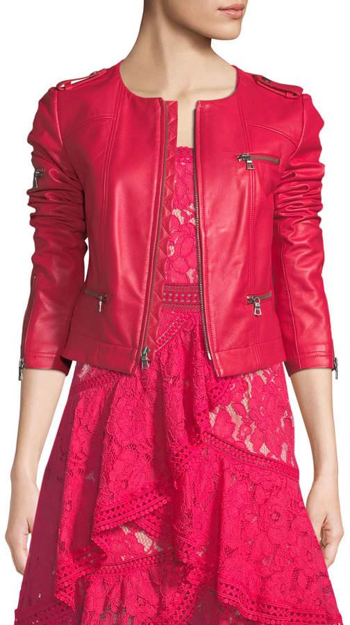 Alice + Olivia Zip-Front Leather Biker Jacket