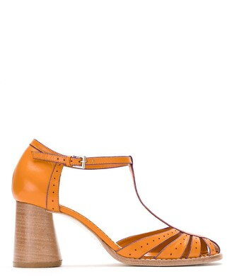 Sarah Chofakian Block Heel Leather Pumps