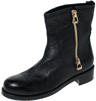Jimmy Choo Black Leather Ankle Boots Size 37