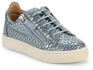 Giuseppe Zanotti Little Boy's Embossed Snake Skin-Print Leather Sneakers