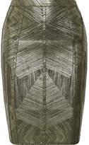 Herve Leger Cadi Metallic Stretch Pencil Skirt - Army green