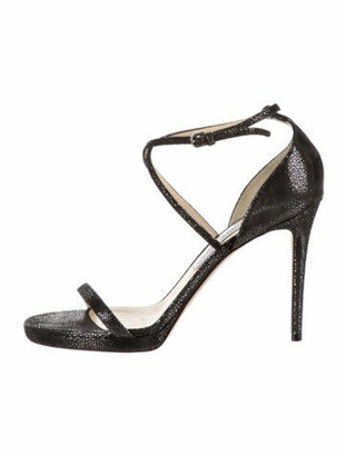 Jimmy Choo Leather Glitter Accents Sandals Black