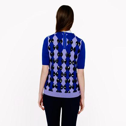 J.Crew Collection beaded diamond back-zip sweater