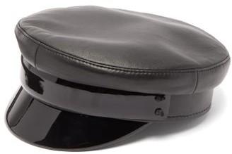 Ruslan Baginskiy Black Leather Baker Boy Cap - Black