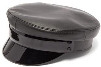 Ruslan Baginskiy Vinyl-brim Leather Baker Boy Cap - Black