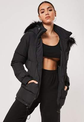 Missguided Faux Fur Belted Puffer Jacket