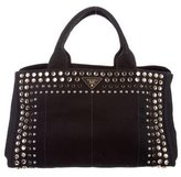 Prada Embellished Canvas Tote