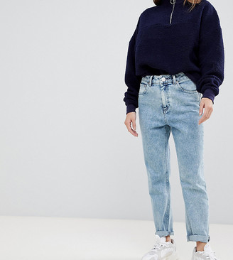 ASOS DESIGN Petite Farleigh high waisted slim mom jeans in 80's acid wash