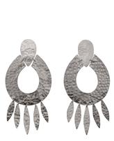Josie Natori Silver Brass Oval Earrings