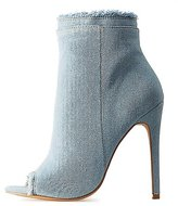 Charlotte Russe Peep Toe Frayed Denim Booties