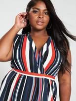 AX Paris Curve Sleeveless Wrap Midi Dress - Stripe