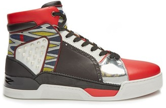 Christian Louboutin Loubikick High-top Leather Trainers - Black Multi