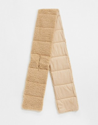 My Accessories London padded volume scarf in nylon and teddy mix in camel
