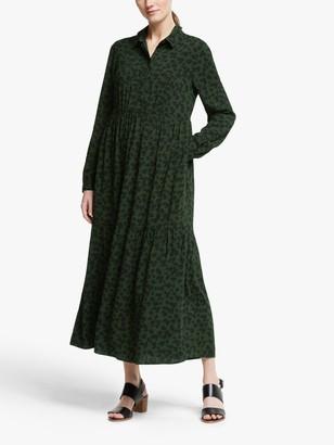 John Lewis & Partners Animal Print Tiered Midi Dress, Khaki
