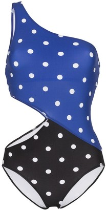 Araks Emlar two-tone polka dot cut-out swimsuit