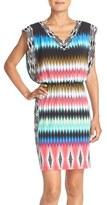 London Times Ikat Print Jersey Blouson Dress