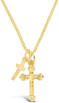 Sterling Forever Double Cross Pendant Necklace