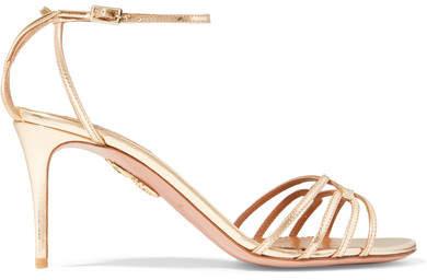 Aquazzura First Kiss Metallic Leather Sandals - Gold