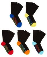 F&F 5 Pair Pack of Patterned Sole Ankle Socks, Boy's