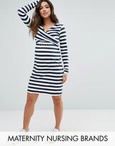 Mama Licious Mama.licious Mamalicious Maternity Nursing Dress In Stripe