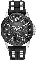 GUESS Stainless Steel Multifunction Silicone Strap Sport Watch
