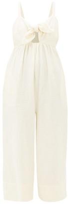 Loup Charmant Triton Tie-front Crinkle-cotton Jumpsuit - Cream