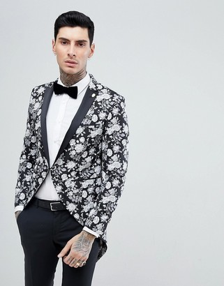 Noose & Monkey Tails Blazer In Black Floral Jacquard-White