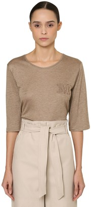 Max Mara Embroidered Viscose Jersey Top