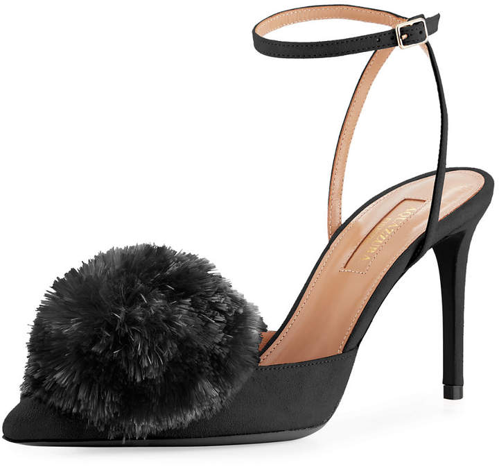 Aquazzura Powder Puff Suede Pompom Pump