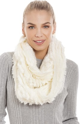 Central Chic Women's Luxurious Cream Faux Fur Snood Infinity Scarf