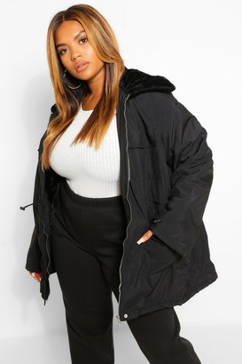 boohoo Plus Faux Fur Lightweight Parka